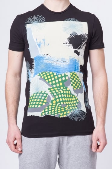 Multi-Colour Print T-Shirt Black