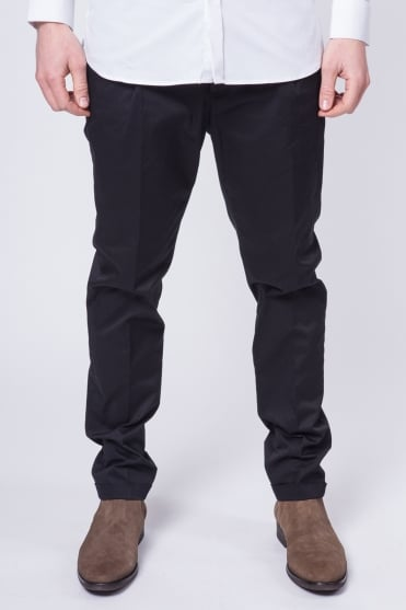 Slim Fit Cotton Chino Trousers Black