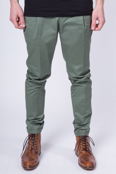 Slim Fit Cotton Chino Trousers Green