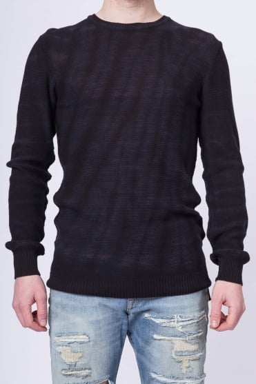 Tie-Dyed Crew Neck Pullover Sweater Black