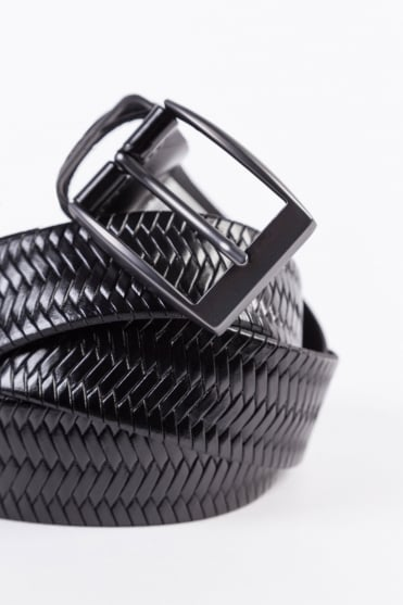 Woven Leather Belt Black