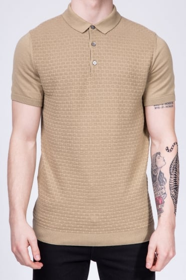Slim Fit Knitted Polo Shirt Beige