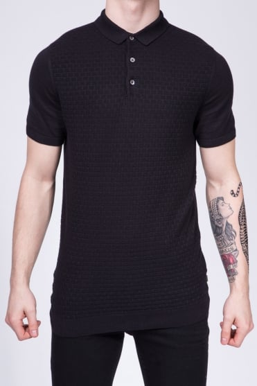 Slim Fit Knitted Polo Shirt Black