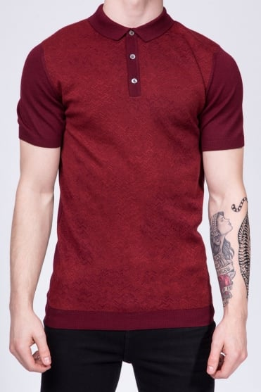 Slim Fit Knitted Polo Shirt Red