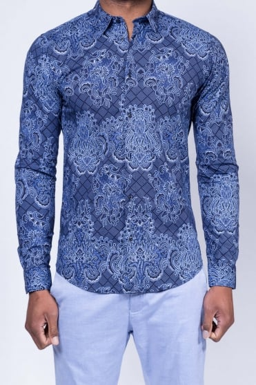 Cotton Stretch Shirt Blue