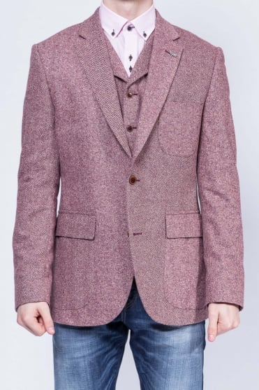 Contrast Detail Donegal Blazer Pink