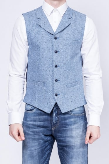 Contrast Detail Donegal Waistcoat Blue
