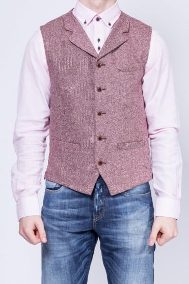 Contrast Detail Donegal Waistcoat Pink