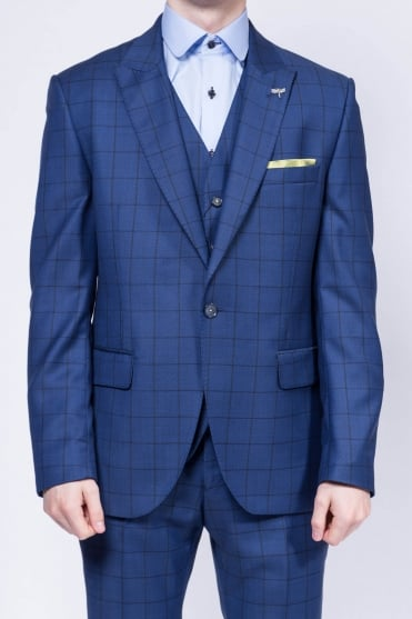 Check Mixer Three Piece Suit Navy