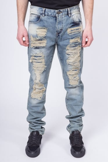 Fury Ripped Denim Jeans Blue