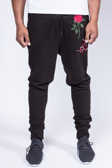 Rose Snake Sweatpants Black