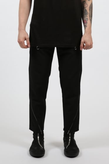 Oblique Zip Trousers Black