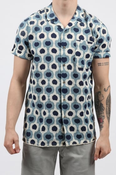 Pattern Short Sleeved Shirt Blue