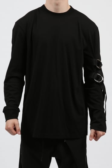 Sleeve Strap Sweatshirt Black