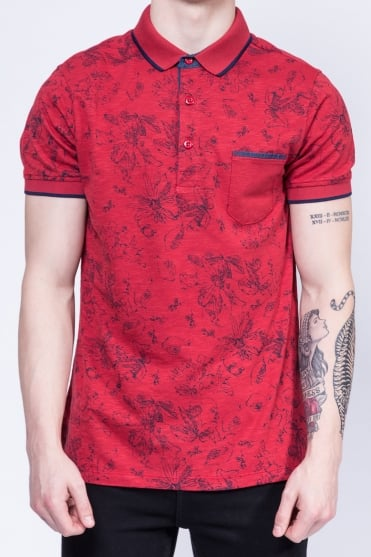 Short Sleeved Printed Polo Shirt Red