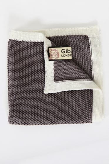Woven Trim Pocket Square Grey