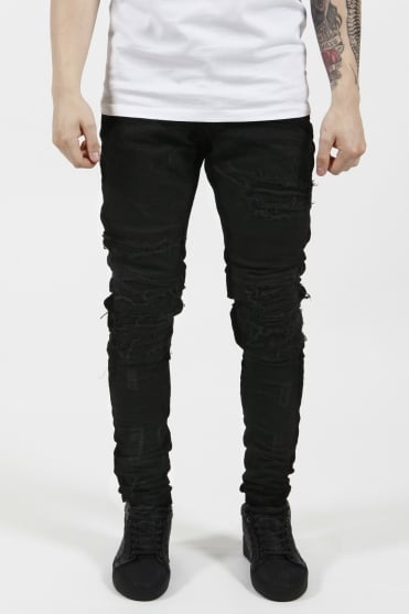Patchwork Denim Jeans Jet Black