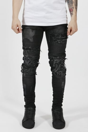 V2 Roadworn Biker Jeans Faded Black