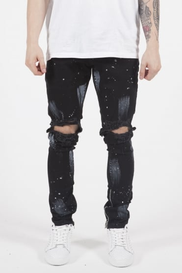 Blown Out Zip Jeans Black