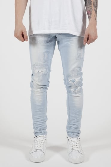 Patch Repaired Jeans Light Blue