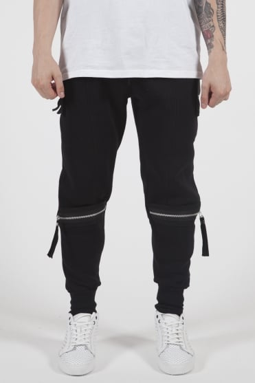 Grundy Zip Detail Sweatpants Black