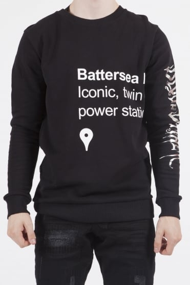 Station Embroidery Sweatshirt Black