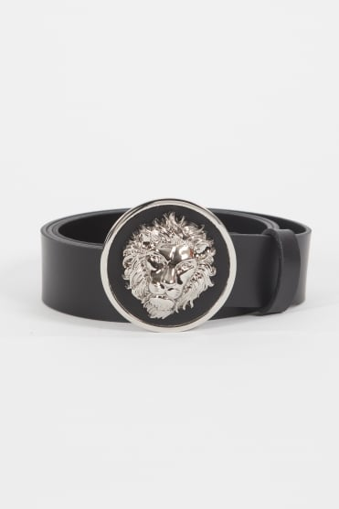 Lion Head Leather Belt Black