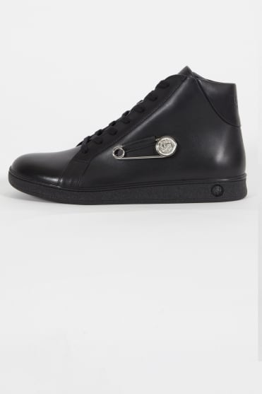 Lion & Pin Logo Hi Top Trainers Black