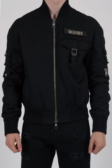 Multi Pocket Bomber Jacket Black