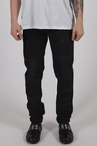 Pin Pocket Ripped Jeans Black