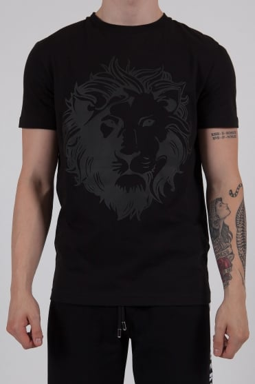 Lion Logo Crew Neck T-Shirt Black