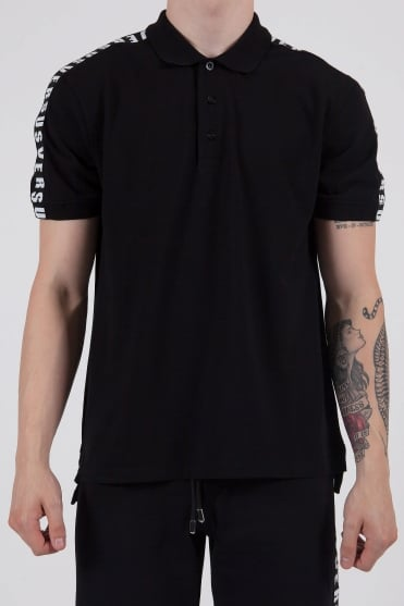 Logo Tape Polo Shirt Black