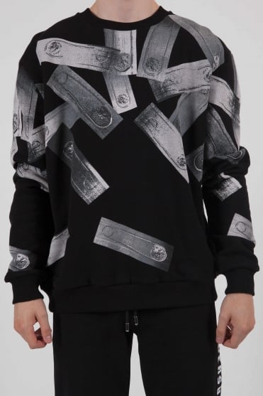 Multi Pin Print Sweatshirt Black