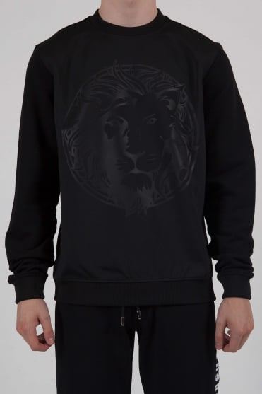 Lion Head Crew Neck Sweatshirt Black
