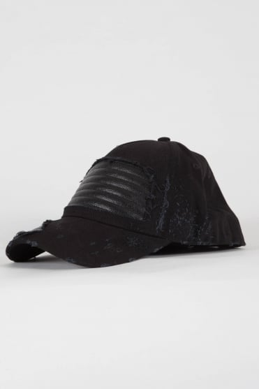Leather Panel Cap Black