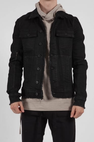 Zip Detail Denim Jacket Black