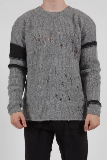 Crew Neck Knitted Sweater Grey