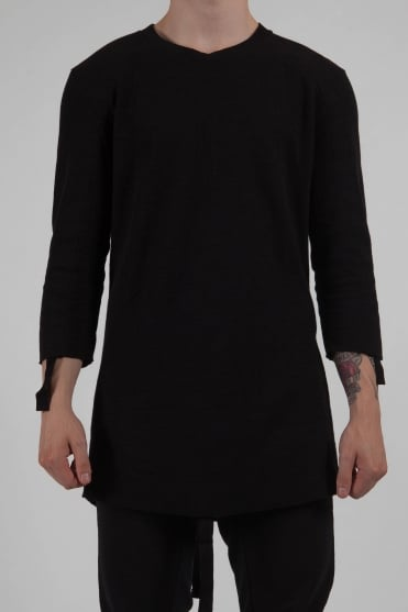 Longline 3/4 Sleeve Sweatshirt Black