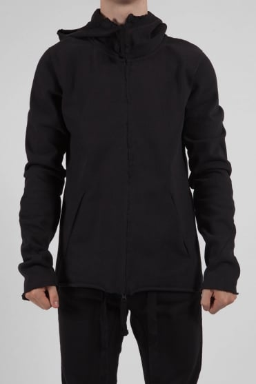 Full Zip Raw Edge Hoodie Black