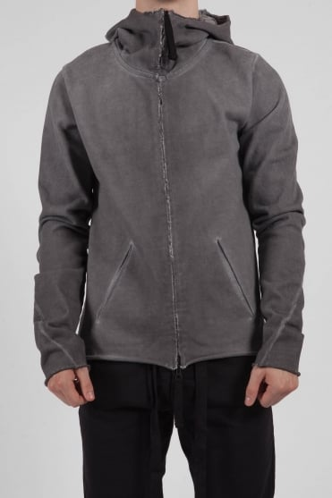 Full Zip Raw Edge Hoodie Charcoal