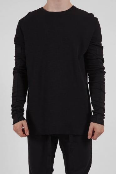 Crew Neck Patch Sweatshirt Black