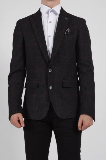Checked Blazer Red