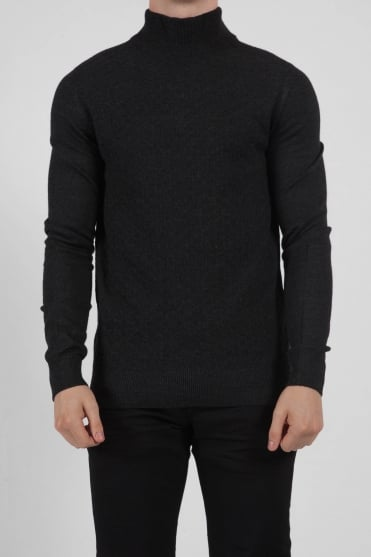 Long Sleeved Turtle Neck Charcoal