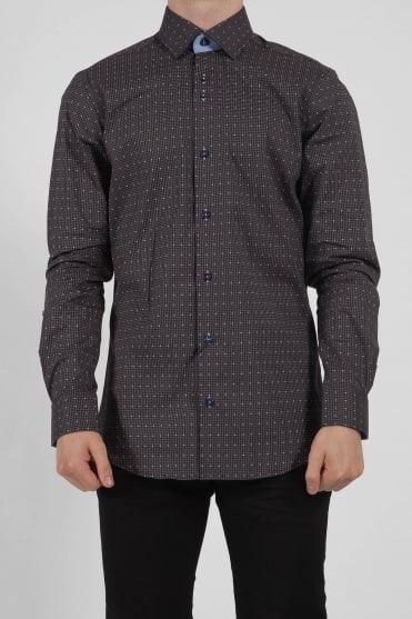 Checked Spotted Shirt Grey