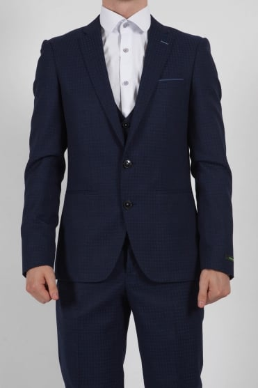 Spotted 3 Piece Suit Navy