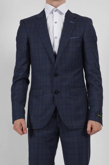 Livo Checked Three Piece Suit Navy
