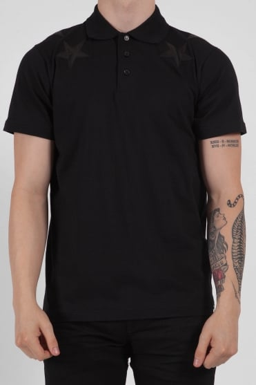 Short Sleeve Star Polo Black