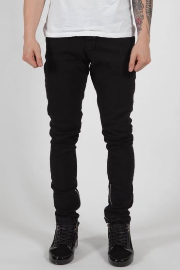 Zip Detail Jeans Black