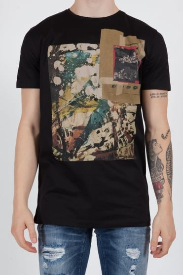 Front Printed T-Shirt Black