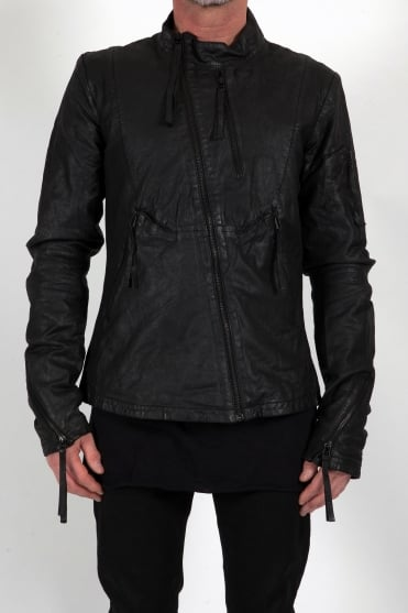 Multi-Zip Leather Jacket Black